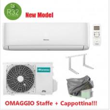 Climatizzatore Condizionatore Hisense EASY SMART 9000 btu Gas R32 CA25YR1AG monosplit inverter classe A++ NUOVO MODELLO Cappottina+Staffe Omaggio