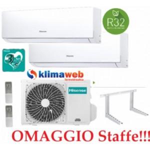 Climatizzatore Hisense New Comfort 2AMW42U4RRA Dual Split 9+12 esterna gas R32 inverter A++ Wifi Opzionale  !! NUOVO MODELLO 2021!!  Omaggio Staffe ALETTE INTERNE ORIENTABILI 9000+12000