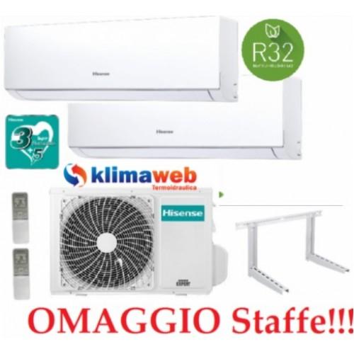 Climatizzatore Hisense New Comfort 2AMW42U4RRA Dual Split 9+12 esterna gas R32 inverter A++ Wifi Opzionale  !! NUOVO MODELLO 2020!!  Omaggio Staffe ALETTE INTERNE ORIENTABILI 9000+12000