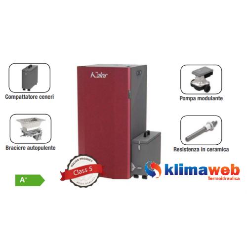 Caldaia a Pellet AUTOPULENTE + COMPATTATORE CENERI modello 16 (fino a 110 mq) 16 Kw Display digitale! Classe A+ Wifi Opzionale NUOVO MODELLO