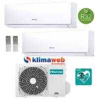 Climatizzatore Hisense New Comfort 2AMW42U4RRA Dual Split 9+9 esterna gas R32 inverter A++ Wifi Opzionale !! NUOVO MODELLO 2020!!ALETTE INTERNE ORIENTABILI GARANZIA 3/5 ANNI 9000+9000