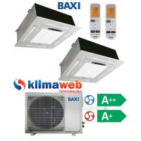 Climatizzatore Condizionatore Baxi dual split CASSETTA 4 VIE 9000+9000 btu DC inverter classe A++/A+ Gas R410