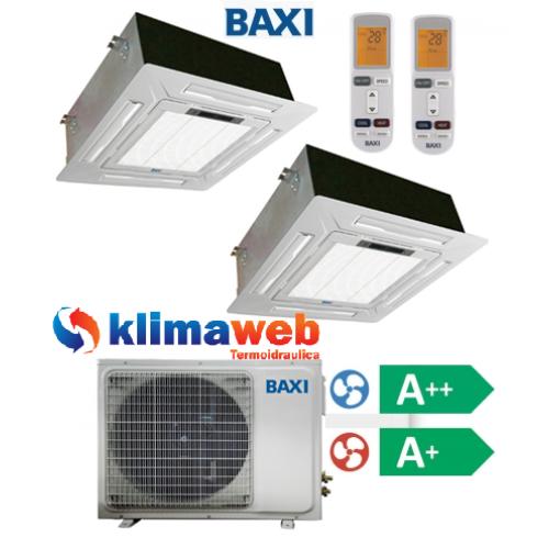 Climatizzatore Condizionatore Baxi dual split CASSETTA 4 VIE 9000+12000 btu DC inverter classe A++/A+ Gas R410