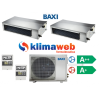 Climatizzatore Condizionatore Baxi dual split CANALIZZATO 9000+9000 btu Light Commercial DC inverter classe A++/A+ Gas R410