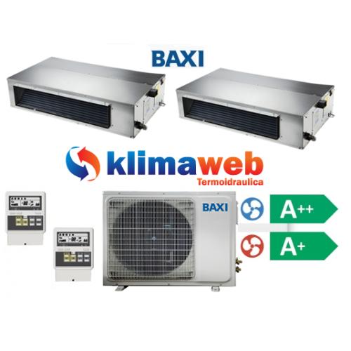 Climatizzatore Condizionatore Baxi dual split CANALIZZATO 9000+12000 btu Light Commercial DC inverter classe A++/A+ Gas R410
