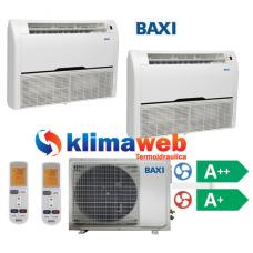 Climatizzatore Condizionatore Baxi dual split Pavimento/Soffitto 9000+9000 btu DC inverter classe A++/A+ Gas R410