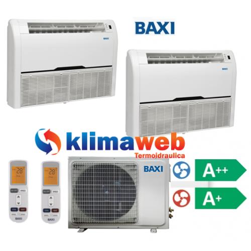 Climatizzatore Condizionatore Baxi dual split Pavimento/Soffitto 9000+12000 btu DC inverter classe A++/A+ Gas R410