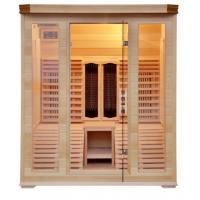 Sauna Infrarossi Kw-C3G in legno Hemlock 2 posti con sdraio 8 piastre in carbonio Radio Cromoterapia Assist Italia Garanzia 2 anni